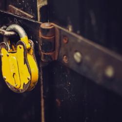 patient-retention - yellow lock on door