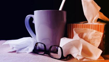 2021 flu shots - flu season - mug and tissues