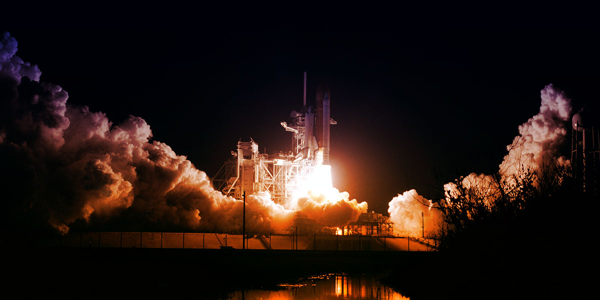 space shuttle lifting off - covid-19 boosters